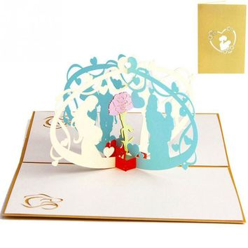 3D Greeting Cards Card Handmade Pop Up Paper Cut Post Card Valentines Thanksgiving Mother's Day Christmas Gift Souvenir