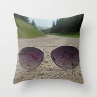 Mountain Sunglasses Throw Pillow by anniebananie
