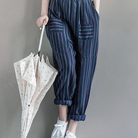 Stripe Double Pocket  Harem Pants