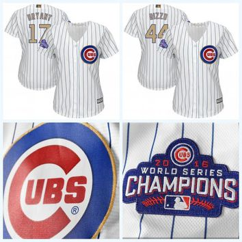 Lady Jersey 17 Kris Bryant 44 Anthony Rizzo 2017 Gold Program World Series Patch Champions Patch Chicago Cubs Baseball Jerseys