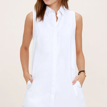 Prep Up White Sleeveless Shirt Dress