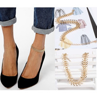 Dainty Come Fashion Charm Golden Chain Leaf Fishbone Anklets Body Jewelry (Color: Gold) = 1695425732