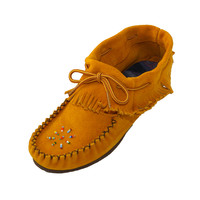 Women's Rubber Sole Suede Leather Moccasins with Fringe 166XX