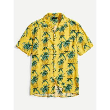 Men Pocket Front Pineapple Print Shirt