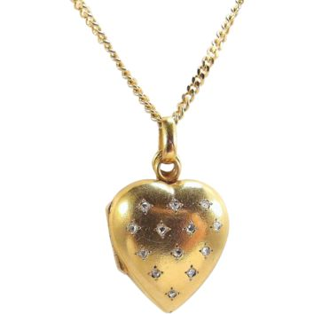 Charming 18K solid gold necklace with photo heart pendant Stamped photo locket with glass divider