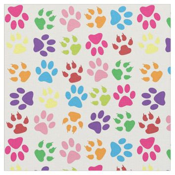 Paws cute colorful paw print pattern fabric