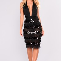 Margaret Fringe Sequin Dress - Black