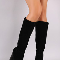 Knee High Vegan Leather Chunk Heel Boot