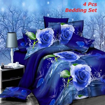 4Pcs Blue Dream 3D Brushed Printed Bedding Set Quilt Cover Bed Sheet Pillowcases Queen Size
