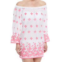 Miguelina Josie Printed Off-the-Shoulder Coverup
