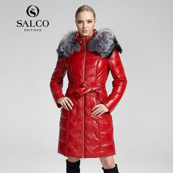 SALCO vogue of new fund of 2016 hot silver fox collars hooded women genuine leather coats of cultivate one's morality