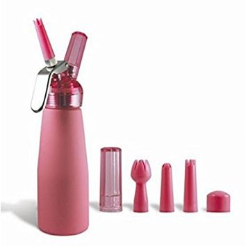 "Whipped Cream Dispenser - 1 pint (1/2 Liter) - ""Suede"" Bubble Gum PINK"