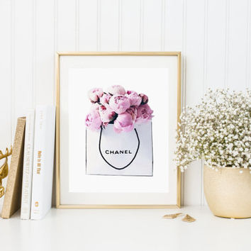 Chanel Print Peonies Bag Watercolor artwork Fashion Illustration Modern Home Décor Fashionista Chanel Bag Coco Chanel Chanel PEONIES BAG