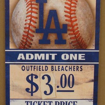 "LOS ANGELES DODGERS GAME TICKET ADMIT ONE GO DODGERS WOOD SIGN 6""X12'' WINCRAFT"
