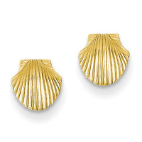 14k Mini Scallop Shell Post Earrings TE632