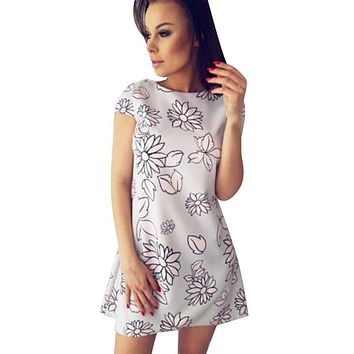 Summer Floral Printed Dress 2017 Women Ladies Short Sleeves Dress Short Elegent Simplicity Straight Dresses vestido curto lisos