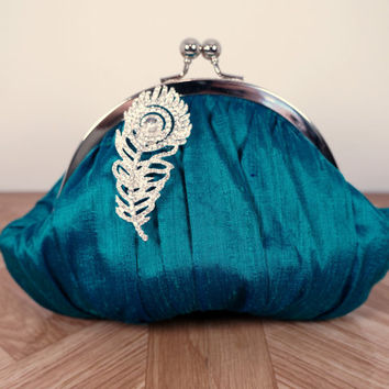 Small clutch, framed teal green clutch purse wristlet with peacock feather brooch, silk clutch, personalized clutch, wrist strap