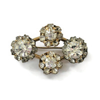 Edwardian Harlequin Clear Rhinestone Brooch Pin, In Antique Gold Tone