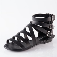 Strappy and Happy Strap Sandals - Black from Breckelles at Lucky 21