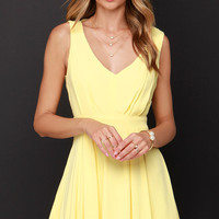 Heaven's Adore Yellow Backless Dress