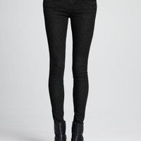 Women's Faux-Leather Quilted Skinny Pants - D-ID Denim - Black