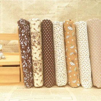 Hoomall 7PCs/set Coffee DIY Patchwork Fabrics For Sewing The Cloth Quilting Cotton Fabric For Needlework Tissue Felt