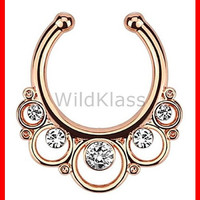 Rose Gold Floral Round with Gems Non-Piercing Septum Hanger Fake Septum Ring Faux Nose Ring Rose Gold Steel Gold Sold by Piece