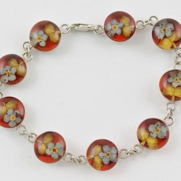 Sterling Silver Bracelet Lucite Flower Domes Heavy Estate Jewelry 7 Inches Must See