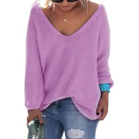 2017 Solid V-Neck Loose Sweaters Women Long Sleeve Loose Vintage Pull Femme Casual Plus Size Spring Pullovers Oversized Knitwear