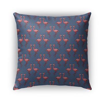 FLAMINGOS FRIENDS ON BLUE PATTERN Indoor Outdoor Pillow By Northern Whimsy
