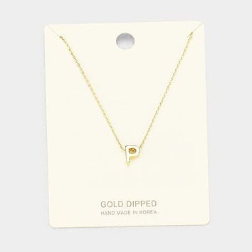 'P' Gold Dipped Metal Pendant Necklace