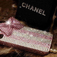 Pink diamond bow iphone case bling iphone 4 case crystal bow phone 4 case pink crystal iphone 4 case iphone cover cute iphone case