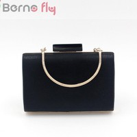Bernofly 2018 Women messenger bag fashion Minaudiere bag Black Elegant lady evening bag casua acrylic Women clutch Evening Bags