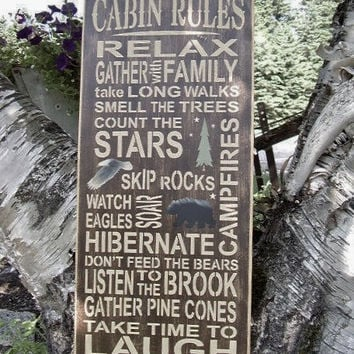 Cabin Rules Subway/Typography Word Art Sign by RUSTICNORTHERN