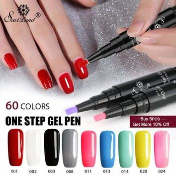 Saviland Newest 3 In 1 Gel Nail Varnish Pen Glitter One Step Nail Art Gel Polish Hybrid 60 Colors Easy To Use UV Gel Lacquer Macchar Cosplay Catalogue