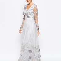 Chi Chi London Open Back Maxi Dress With Floral Embroidery