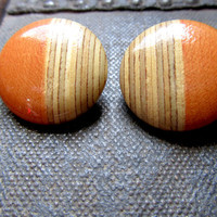 Vintage Late 70's Wooden Button Earrings