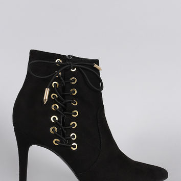 Shoe Republic LA Corset Lace Up Pointy Toe Booties