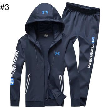Under Armour autumn and winter models plus velvet long set men's sports warm slim two-piece suit #3