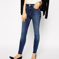 ASOS Ridley Skinny Ankle Grazer Jeans in Boston Wash with Raw Hem at asos.com