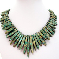 Forest Green Aqua Terra Jasper Spear Necklace, Large Green Spike Bib Choker Gold Necklace