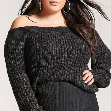 Plus Size Marled Off-the-Shoulder Sweater