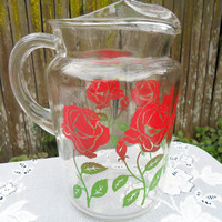 Vintage Pitcher Glass with Red Rose Pattern