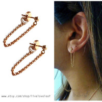 Gold Filled Ball and Chain Earrings - Front to Back GF rolo chain & 3mm gold gold ball stud ballerina style earrings chained to my heart