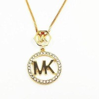 DCCKNQ2 MK Fashion Logo Crystal Diamonds Necklace-3