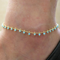 "9"" Gold GP 4mm turquoise beads gold chain adjustable Ankle leg Bracelet Anklet, foot jewelry"