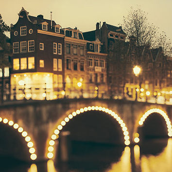 The Night Bridge - Amsterdam Print, Magical Dreamy Lights on Canal, Home Decor Brown, Gold, Black, Twilight Dusk, Arches, Europe