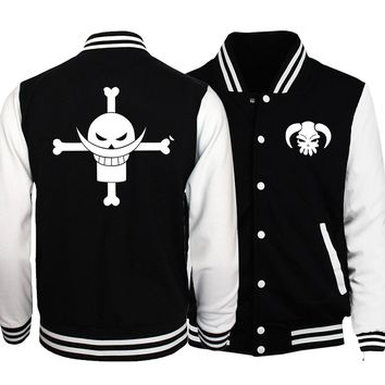 2017 Spring Hot Sale Japanese Anime One Piece Luffy Jackets Men Baseball Uniform Jackets Casual Slim Fit One Piece Hoodies S-5XL