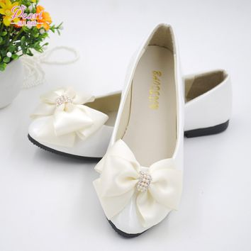 Brides White Handmade  Gorgeous Butterfly White Pearl Shoes