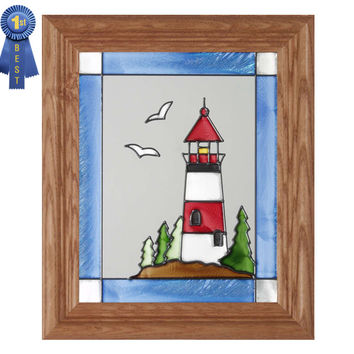 Nautical Lighthouse Stained Glass Art